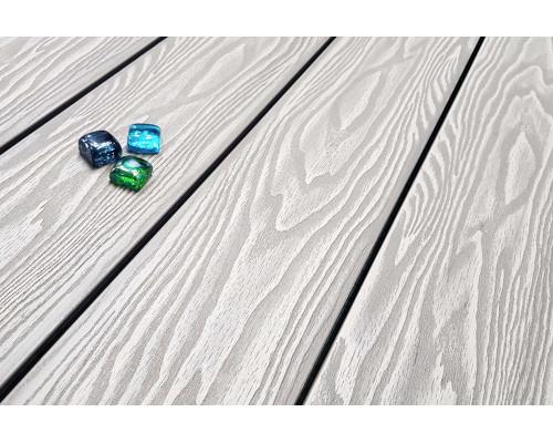 Террасная доска Террапол СМАРТ 3D Дуб Белёный пустотелая с пазом